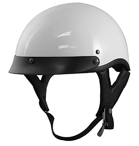 VCAN Cruiser Solid Flat Black Half Face Motorcycle Helmet (X-Small)