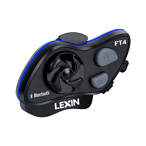 LEXIN 1pc LX-FT4 1-4 Rider Motorcycle Bluetooth Headset with FM Radio, Helmet Communication Intercom Systems with Advanced Noise Cancellation for Motorcycle Off-Road Snowmobile Range up to 1.2 Miles