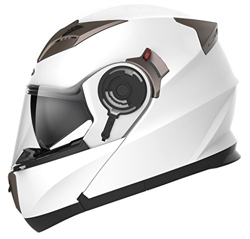 YEMA Helmet Unisex-Adult Motorcycle Modular DOT Approved-YM-925 Motorbike Casco Moto Street Bike Racing Helmet with Sun Visor Bluetooth Space for Youth Men and Women (White, L)