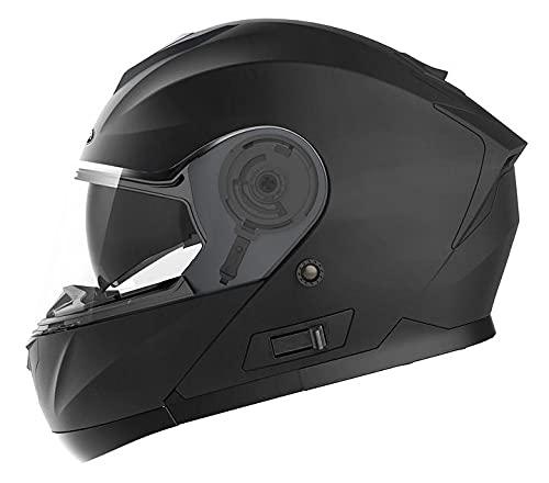 Motorcycle Modular Full Face Helmet DOT Approved - YEMA YM-926 Motorbike Moped Street Bike Racing Flip-up Helmet with Sun Visor Bluetooth Space for Adult,Youth Men and Women - Matte Black,L