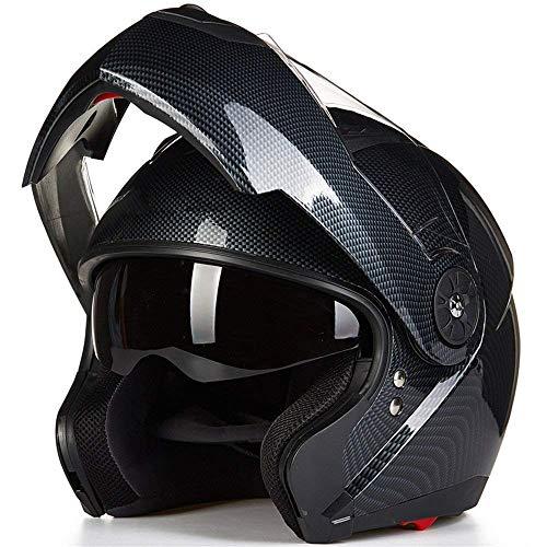 ILM 8 Colors Motorcycle Modular Flip up Dual Visor Helmet DOT (L, Carbon Fiber)