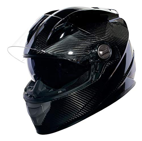 Sedici Strada Carbon Fiber Drop Down Sun Shield Visor Vented DOT Sport Bike Street Motorcycle Full Face Helmet - Black MD
