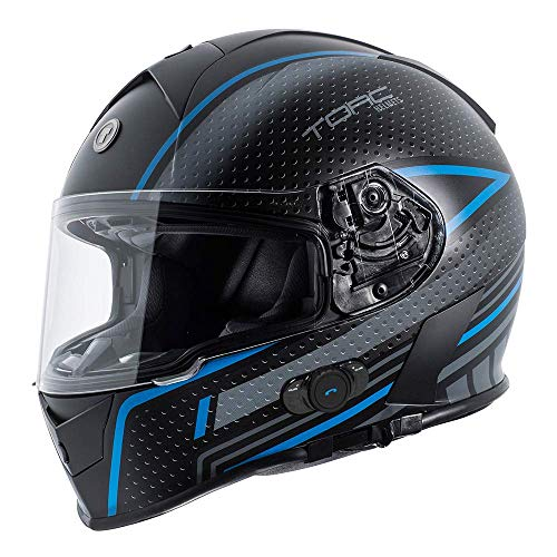 TORC Unisex-Adult T14B Blinc Loaded Mako Full Face Motorcycle Helmet (Flat Black with Scramble Blue Graphic, Large)