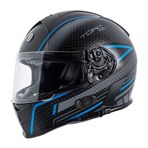 TORC Unisex-Adult T14B Blinc Loaded Mako Full Face Motorcycle Helmet (Flat Black with Scramble Blue Graphic, Large)