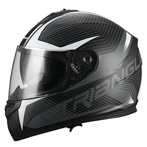 TRIANGLE Full Face Dual Visor Matte Black Street Bike Motorcycle Helmet (Medium, Matte White)