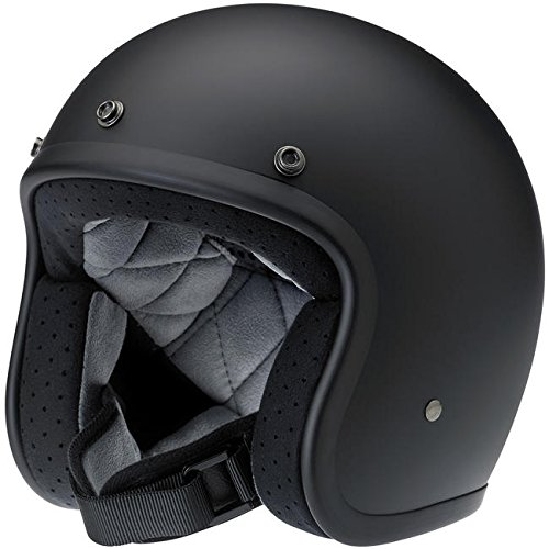 Biltwell Bonanza DOT Certified Open-Face-Helmet-Style Helmet (Flat Black, Medium) - BH-BLK-FL-DOTMD