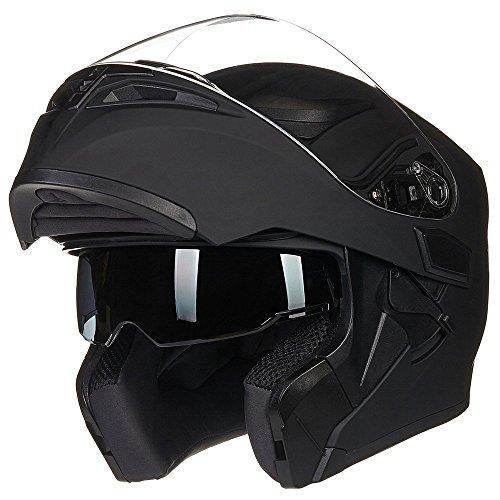 ILM Motorcycle Dual Visor Flip up Modular Full Face Helmet DOT 6 Colors (L, Matte Black)