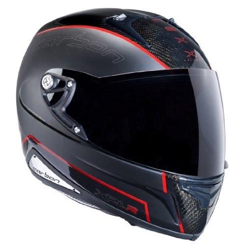 Nexx XR1R Full Face Helmet (Carbon Black Red, Large)