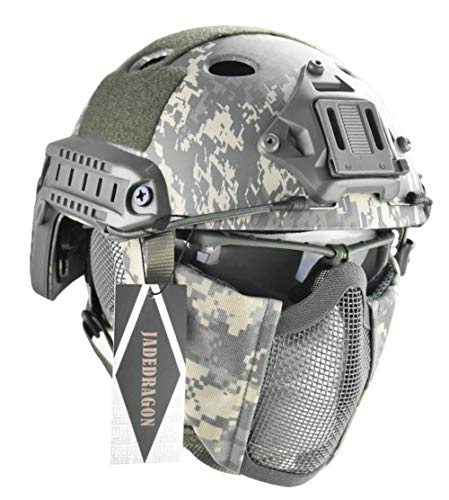 Jadedragon PJ Tactical Fast Helmet & Protect Ear Foldable Double Straps Half Face Mesh Mask & Goggle (CP)