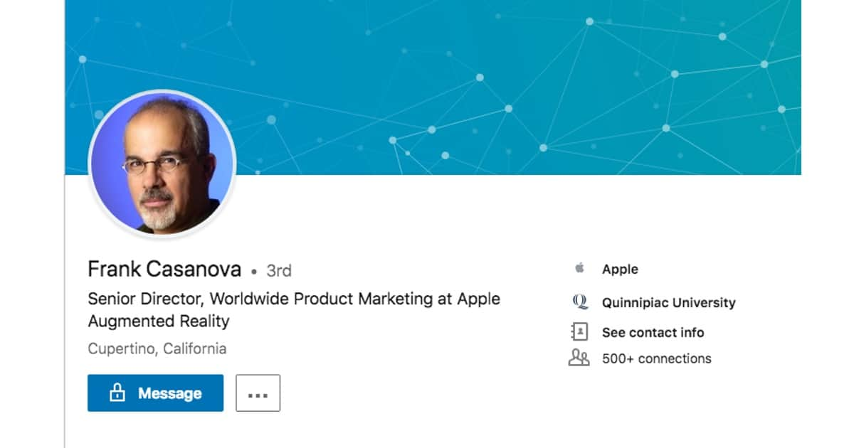 Apple Re-Assigned Frank Casanova as a Lead of Product Marketing for Apple's AR Division